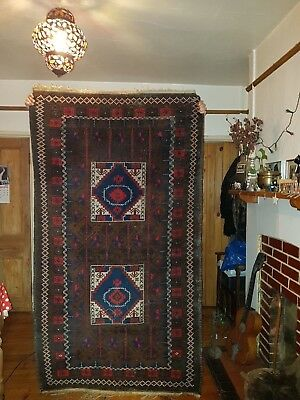 Rare Vintage Antique Kilim Hand very Fine Knotted Wool Persian Rug 87x46 inches