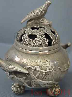 Old Chinese Miao Silver Hand Carving Flower & Magpie Bird Lucky Incense Burner