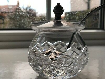 Mustard Pot with stunning cut glass and silver plated original spoon