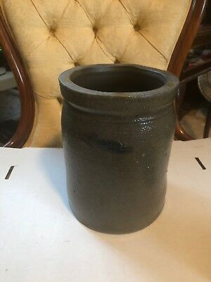 """Stoneware Crock With Blue Accents; 9"""" High By 7"""" In Diameter. Stamped With A '1'"""