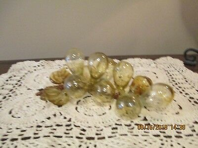 "Vintage Blown Glass Amber Grape Cluster, 10 Grapes, 9"" Long By 5"" Wide"
