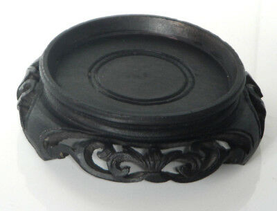 """Vintage Chinese Pierced Carved Hardwood Pot Vase Stand 3⅛"""" 78mm three footed"""