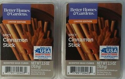 BETTER HOMES AND GARDENS Scented BHG WAX CUBES Melts SPICY CINNAMON STICK x2