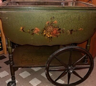 Antique Tea Cart with Glass Tray