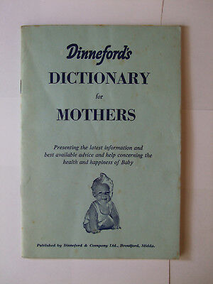 Dinneford`s Dictionary for Mothers Oct.1955 Vintage advice help baby care book