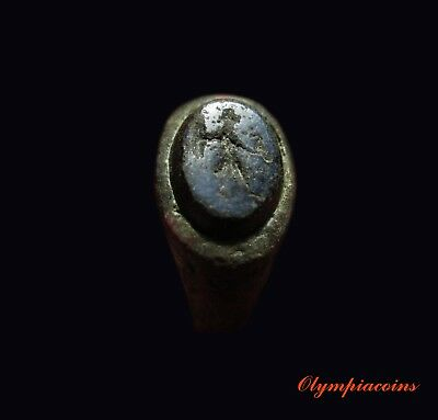 ** EXCELLENT ** Ancient ROMAN Bronze ring ** JUPITER with EAGLE ** Nicolo stone