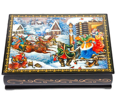 """5x7"""" Trinket Box. Russian Lacquer Box Palekh Style With Troika Winter Motif"""
