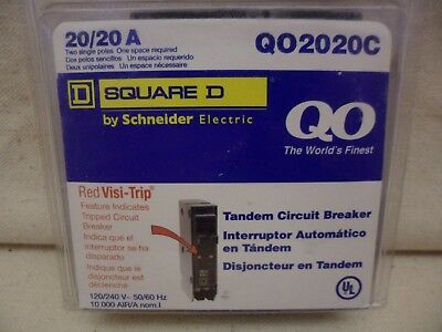 SQUARE D 20A TWIN BREAKER  QO2020C  Red Visi-Trip Easily Locate Tripped Circuit