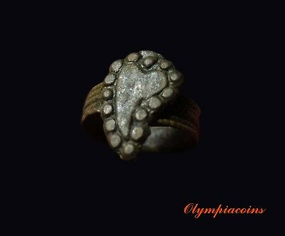 ** EXCELLENT  ** Ancient Byzantine bronze ring ** HEART **