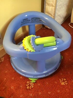 baby bath seat swivel blue good condition