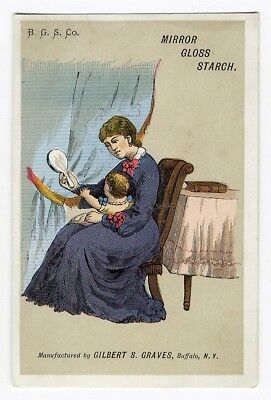 MIRROR GLASS STARCH Victorian Trade Card MOTHER & NEW BABY 1880's Gilbert Graves
