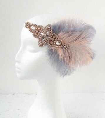 Grey Light Blush Nude Pink Feather Headpiece 1920s Headband Flapper Gatsby 6478