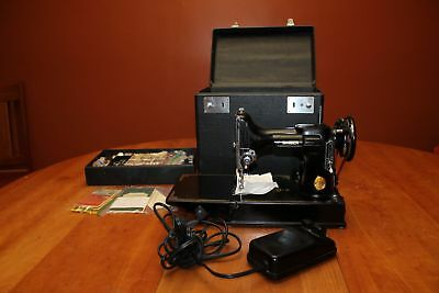 1950 Singer Featherweight 221-1 Sewing Machine + Case, Manual #AJ354501 Serviced