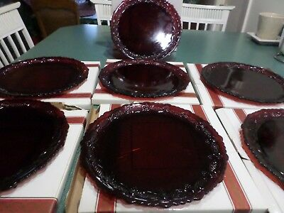 """7 Used Avon Ruby Red 1876 Cape Cod Collection 10 3/4"""" Dinner PlatesWith Boxes"""