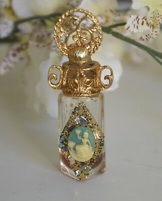 Small Antique Glass Faceted Perfume Bottle Cameo of a Woman Faux Jewels Filigree