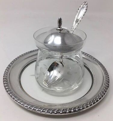 Sterling Silver Etched Floral Jelly Mustard Glass Jar Spoon Lid Plate 925 182086