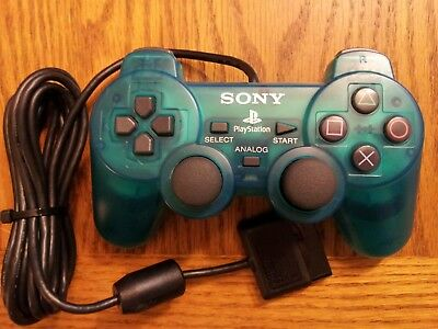 Official Sony PlayStation 2 PS2 Clear Blue Dualshock 2 Controller Original OEM