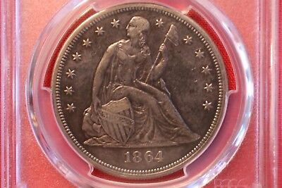 1864 Seated Liberty Dollar ~ Vf Details Repaired Pcgs
