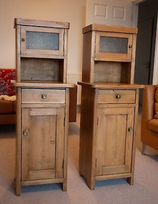 Pair of Vintage Tall Matching Pine Bedside Cabinets - Stunning