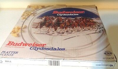 "Budweiser Clydesdale Horses 13"" Glass Serving Plate"