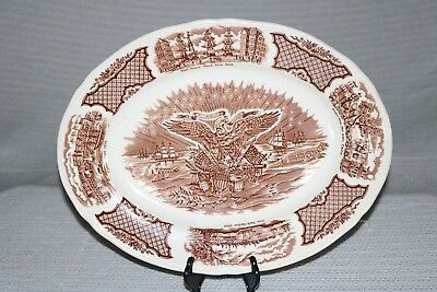 "Alfred Meakin FAIR WINDS Brown England 15"" Oval Ham Turkey Serving Platter"