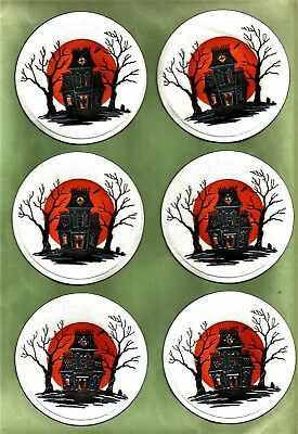 6 VINTAGE 1950's HALLOWEEN Party Coaster with Spooky HAUNTED HOUSE