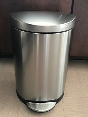 simplehuman 10 Liter / 2.3 Gallon Stainless Steel Semi-Round Step Garbage Can
