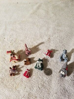 collection of 9 dollhouse miniature stuffed animals