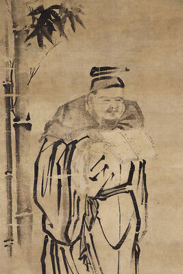 "JAPANESE HANGING SCROLL ART Painting ""Chinese wiseman and Bamboo""  #E4870"