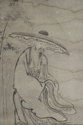 "JAPANESE HANGING SCROLL ART Painting ""Chinese wiseman"" Asian antique  #E4871"