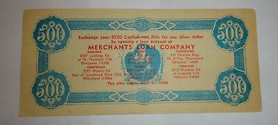 1960 Merchants Loan Company Replica Confederate $500 Dollar Bill / St. Louis