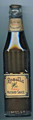 Scarce 1920's Australian Rosella French Mustard Sauce Corked Bottle & Contents