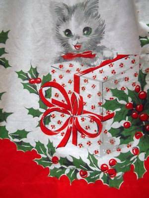 Vintage CHRISTMAS Apron with KITTENS CATS Holly Berry Presents