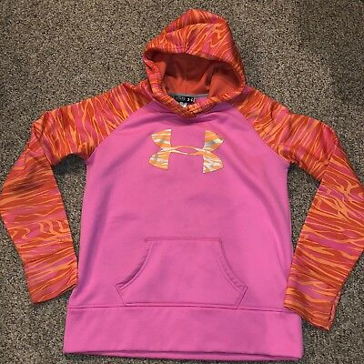 UNDER ARMOUR Girls YXL Pink LOGO hoodie Loose Fit sweatshirt Free Shipping