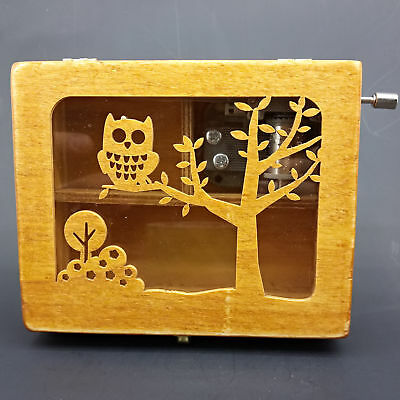 Handmade Exquisite Owl & trees Wood Music Box     A378