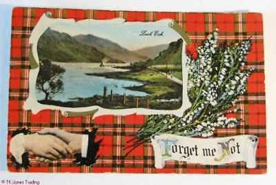 PC Loch Eck FORGET ME NOT Scottish Scots Postcard Edwardian 1/2 d Stamp 1914