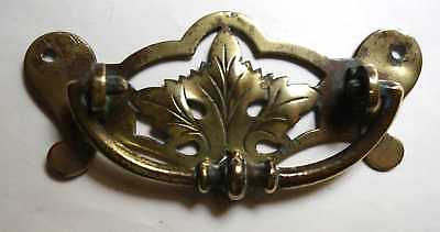 J.H.  Hopkins & Son Antique Brass Cabinet Drawer Handle Birmingham Leaf Design