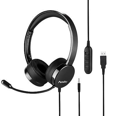 USB Headset with Microphone, Pander Noise Cancelling 3.5mm Computer Pc Headset,