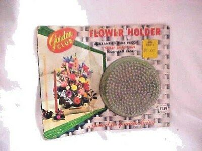 Vintage Never Opened Garden Club Flower Holder FROG * Round with Brass Pins