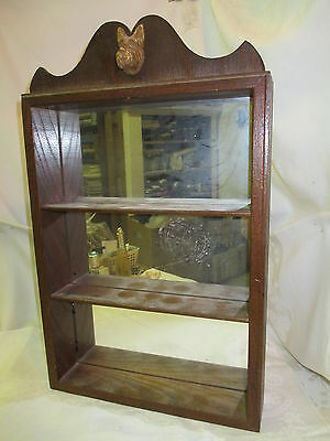 Vintage wood Wall Cabinet mirror back shelves for miniatures with Scottie Head
