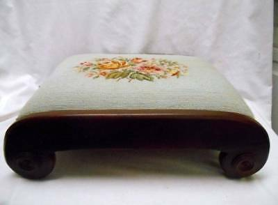 Vintage FOOT STOOL Ottoman Bench with NEEDLEPOINT flowers