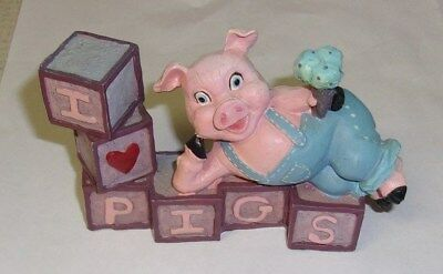 I Love You Pigs Figurine Pink & Purple W/ Ice Cream Used 3X5