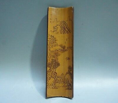Chinese Exquisite Hand carved landscape pattern bamboo Paperweight-1