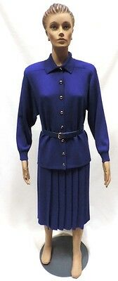 St John Marie Gray Suit Sz 8 Blue Jacket Pleat Skirt Santana Knit Dress Belt
