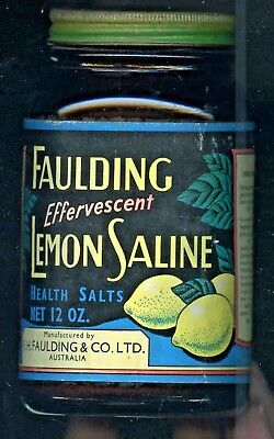 1950'S Aust Fauldings With Contents Screw Lidded Jar Lemon Saline Health Salts
