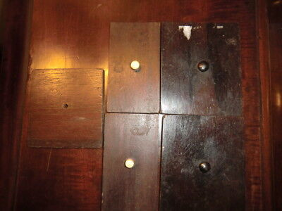 5 Antique Tea caddy lids 19th Century English pulls rosewood ebony lead lined