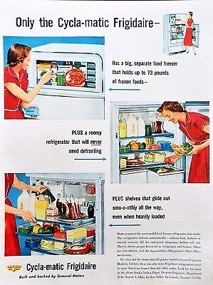 Vtg 1953 Frigidaire Cycla matic refrigerator retro advertisement print ad art