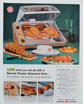 Vintage 1959 General Electric Rotisserie Oven retro advertisement print ad art