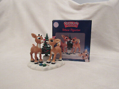 Rudolph the red nosed reindeer Deluxe Figurine by Enesco Rudolph and Clarice