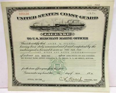 1954 United Staes Coast Guard License to US Merchant Marine Officer
